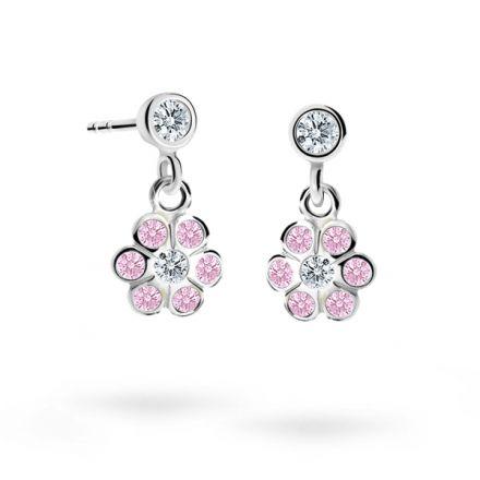 Kolczyki dziecięce Danfil kwiatki C1737 białego, Pink, wkręt