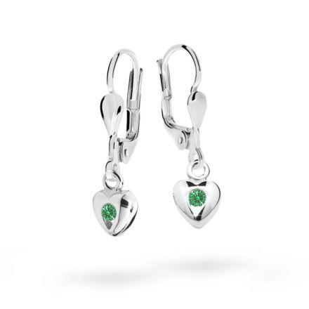 Kolczyki dziecięce Danfil serduzska C1556 białego, Emerald Green, zapięcie patentowe