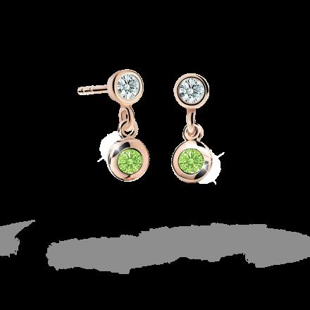 Kolczyki dziewczęce Danfil C1537 różowego, Peridot Green, puzeta