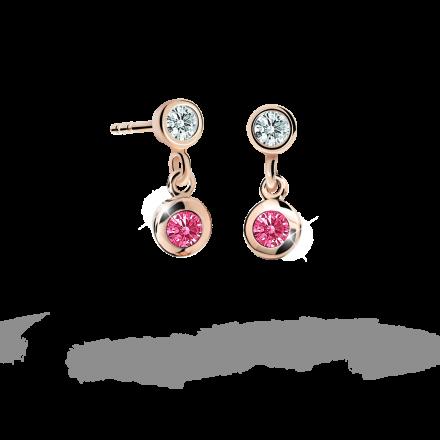 Kolczyki dziewczęce Danfil C1537 różowego, Tcf Red, puzeta