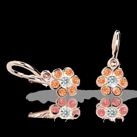 Kolczyki dziewczęce Danfil kwiatki C1737 różowego, Orange, brizura