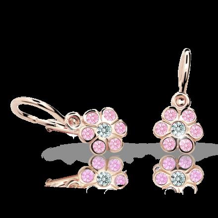 Kolczyki dziewczęce Danfil kwiatki C1737 różowego, Pink, brizura